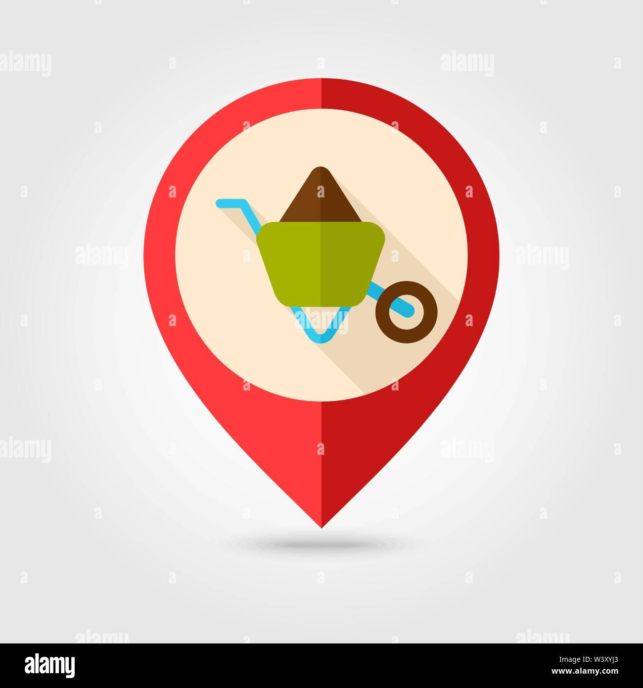 Wheelbarrow carts flat pin map icon. Map pointer. Map markers. Farm. Garden. Vector illustration eps 10 - Stock Vector