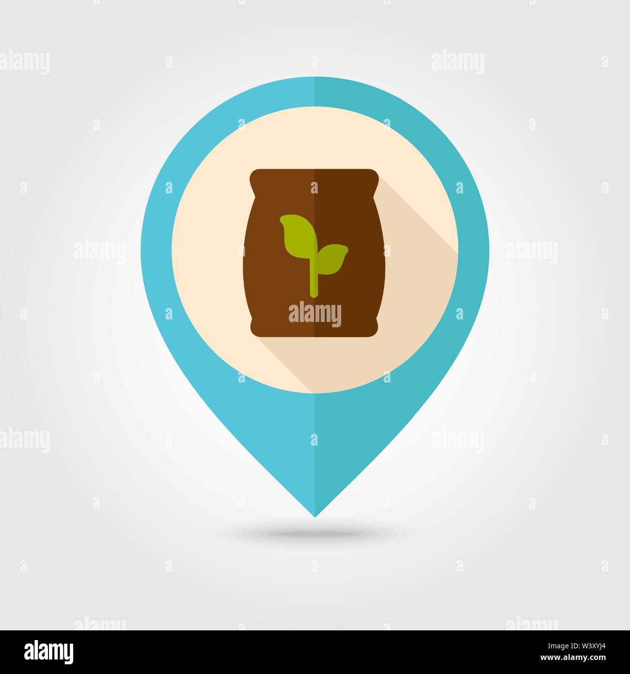 Fertilizer flat pin map icon. Map pointer. Map markers. Farm. Garden. Vector illustration. Present By Green Nitrogen, Potassium, Phosphorus and Leaf S - Stock Vector
