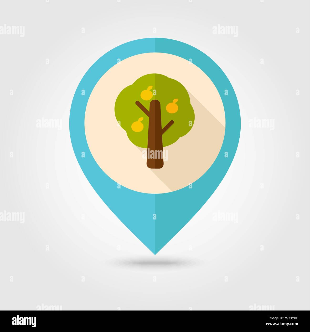Fruit tree flat pin map icon. Map pointer. Map markers. Farm. Garden. Harvest. Vector illustration eps 10 - Stock Vector