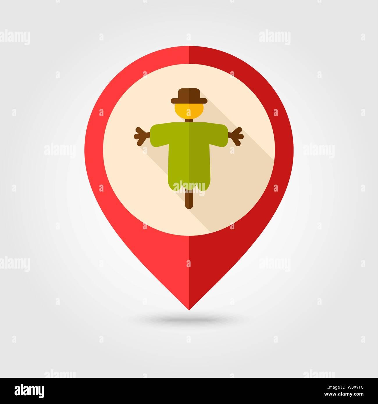 Scarecrow flat pin map icon. Map pointer. Map markers. Farm. Garden. Vector illustration eps 10 - Stock Vector