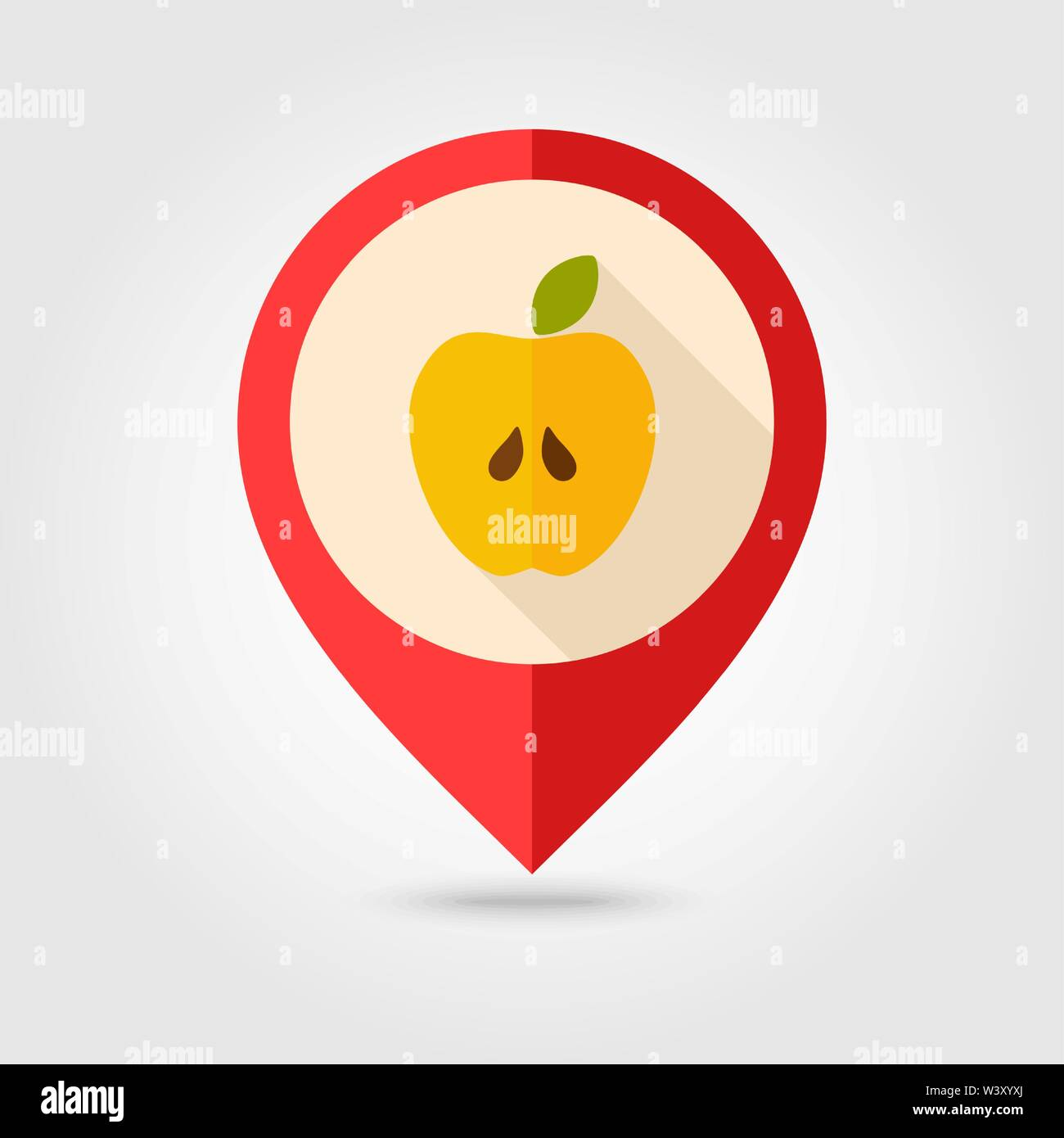 Apple flat pin map icon. Map pointer. Map markers. Farm. Field. Harvest. Vector illustration eps 10 - Stock Vector