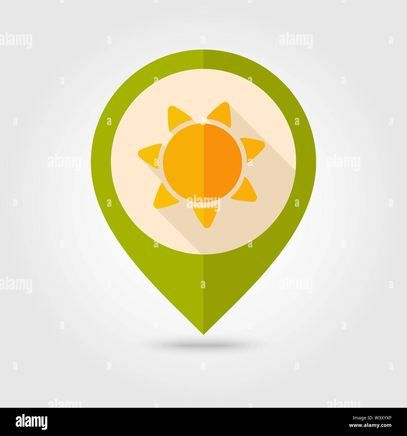 Sun flat pin map icon. Map pointer. Map markers. Farm. Field. Vector illustration eps 10 - Stock Vector