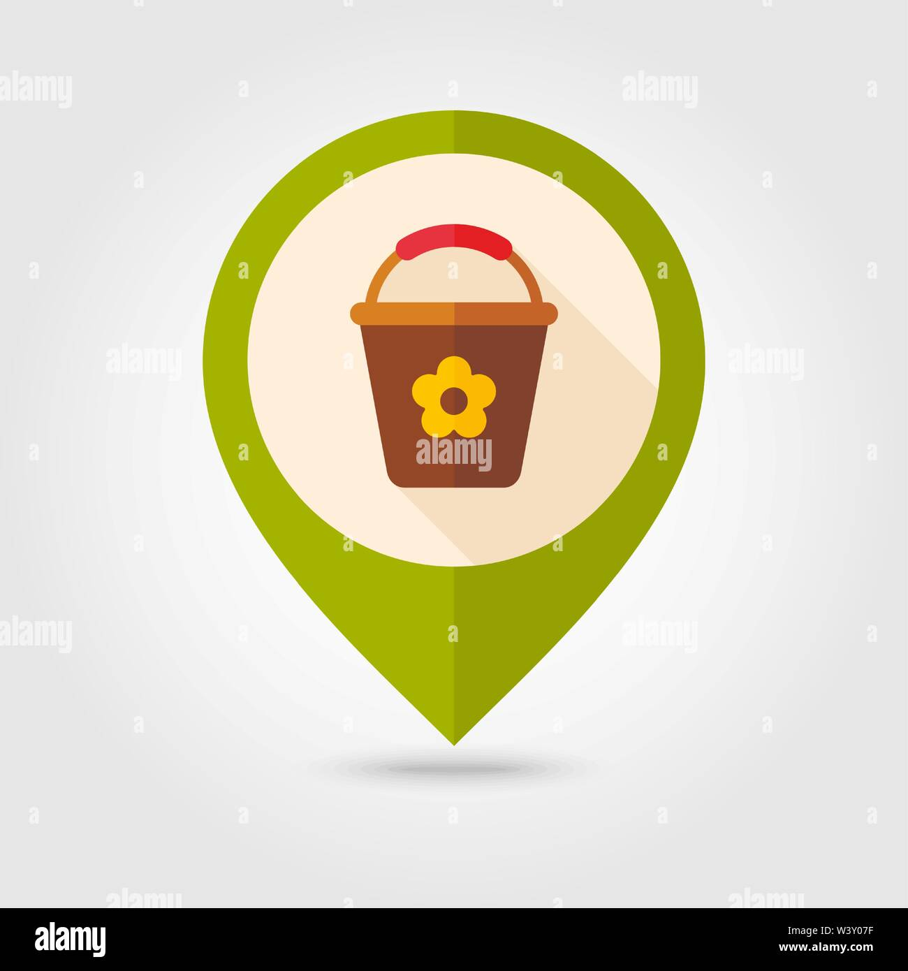 Bucket flat vector pin map icon. Map pointer. Map markers. Garden, eps 10 - Stock Image