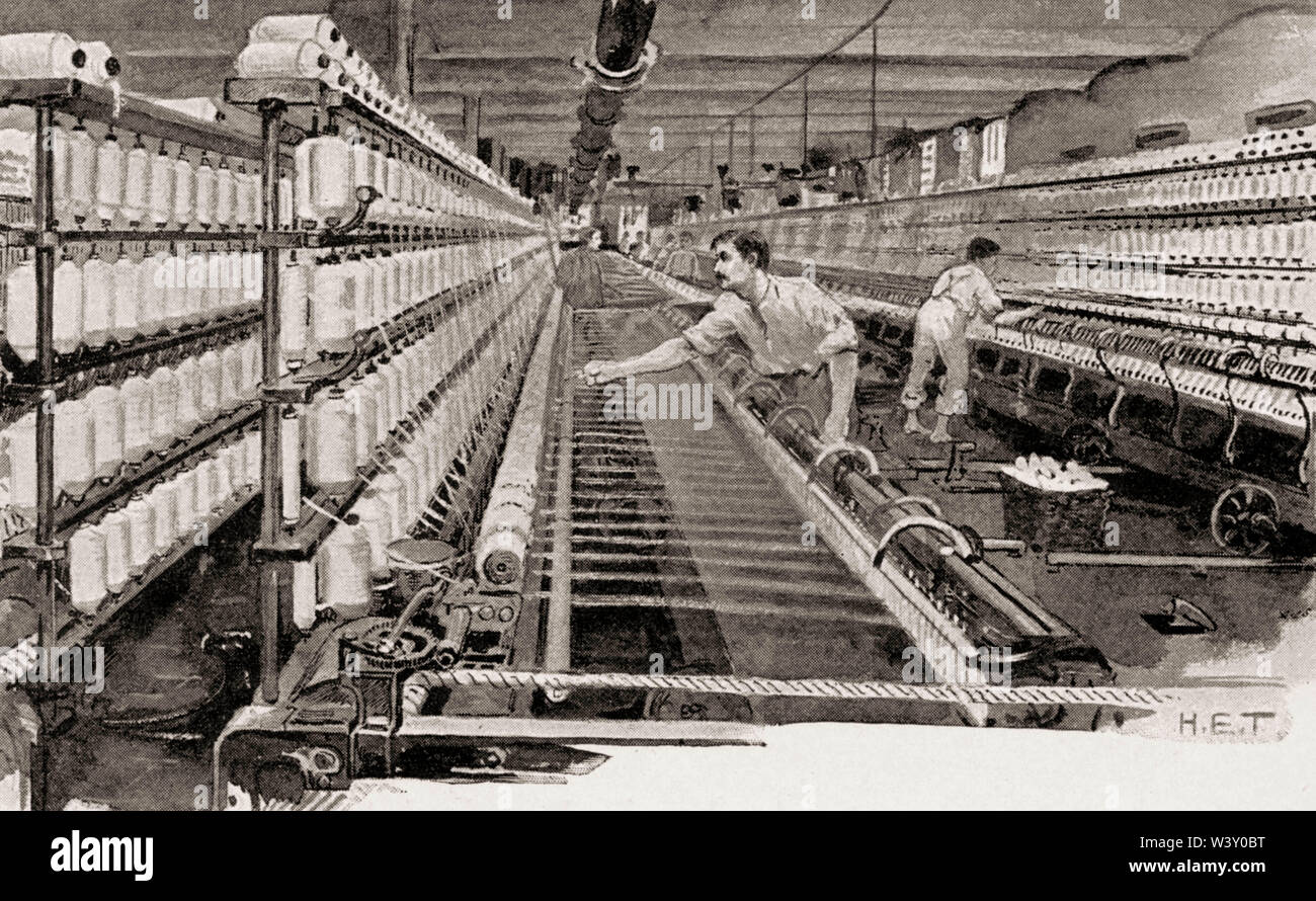 Spinning room, cotton industry, Manchester, England, UK, 19th century - Stock Image