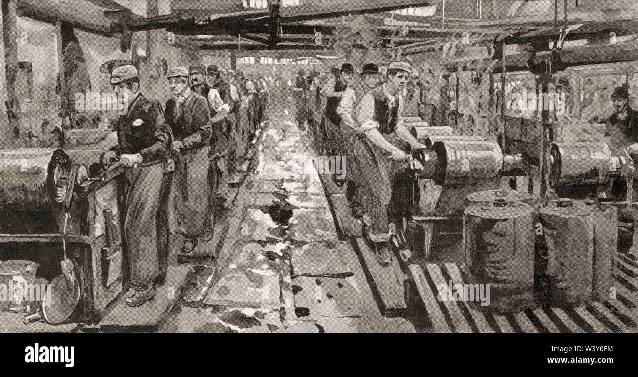 Dye house in Messrs Worrall's works mill factory workshop, cotton industry, Manchester, England, UK, 19th century - Stock Image