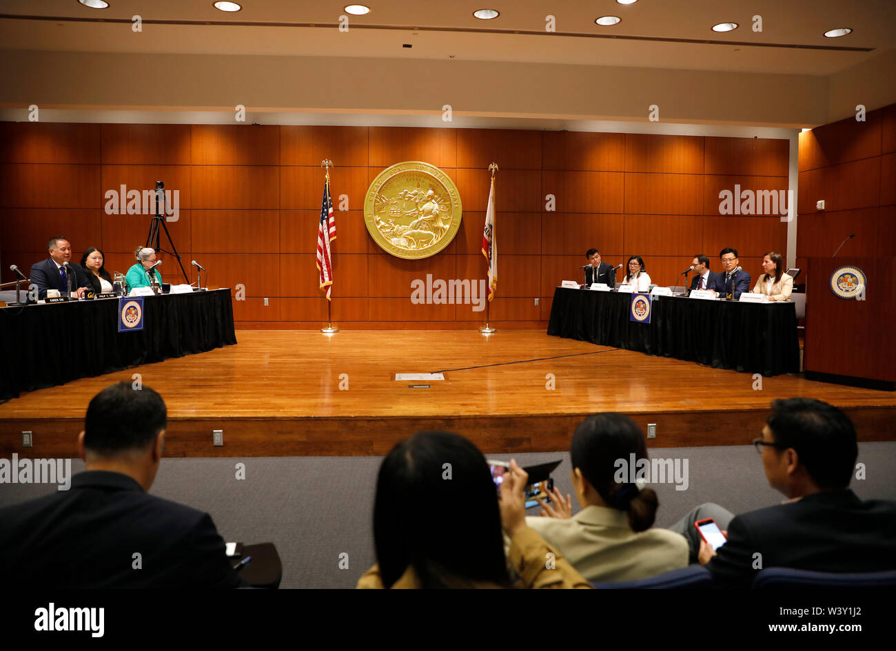 (190718) -- SAN FRANCISCO, July 18, 2019 (Xinhua) -- A hearing on the effects of U.S.-China trade dispute is held in San Francisco, California, the United States, July 17, 2019. California's agriculture was 'the hardest hit' in the ongoing U.S.-China trade dispute, with the biggest drop in exports to China recorded, a state assembly leader said Wednesday. American wine exports to China have fallen by 25 percent, with 90 percent of the loss coming from California, since U.S. President Donald Trump escalated trade frictions with China by imposing steep tariffs early this year, Phil Ting, chai - Stock Image