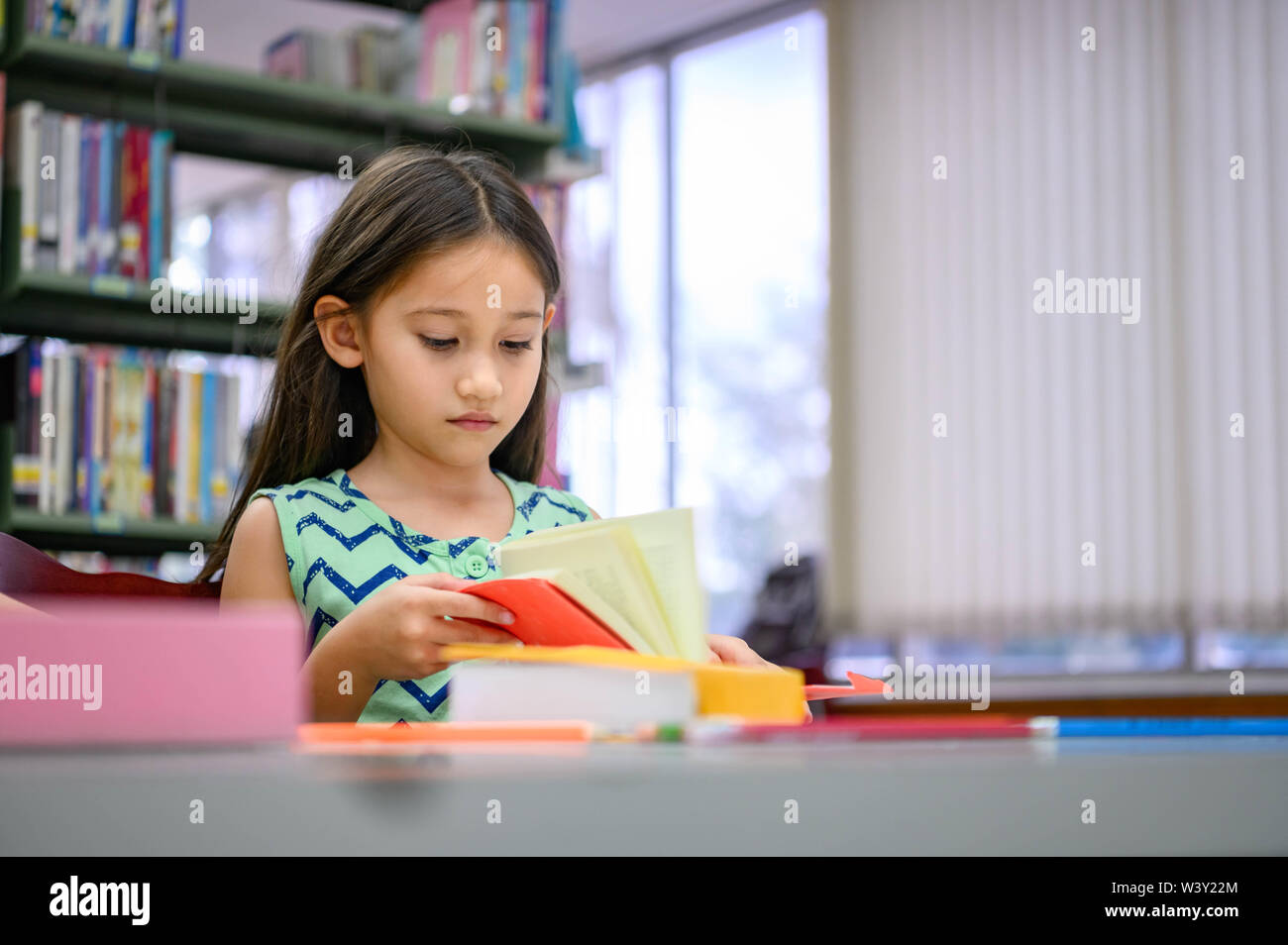 Cute little girl reading books in library attentively at school. Girl concentrating to learning by herself outside classroom. Education and People lif - Stock Image