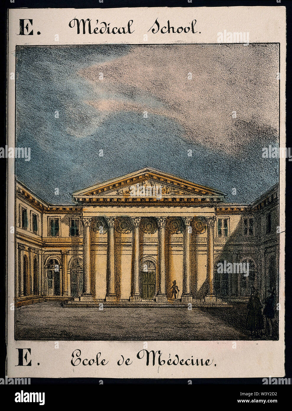 School of Medicine, Paris  main entrance. Coloured lithograph. - Stock Image