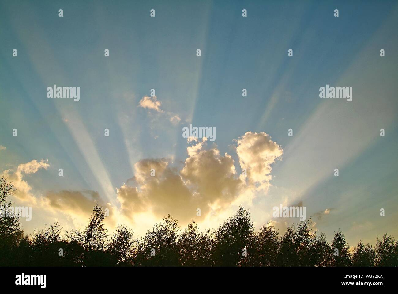 rays of the sun through clouds , Russia - Stock Image
