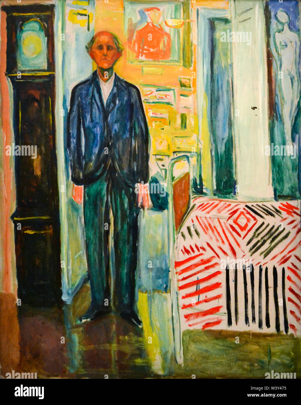 Edvard Munch, Self-Portrait Between the Clock and the Bed, painting, 1940-1943 - Stock Image
