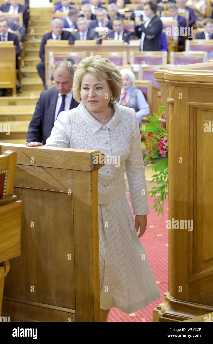 St Petersburg, Russia. 18th July, 2019. ST PETERSBURG, RUSSIA - JULY 18, 2019: Russian Federation Council Chairperson Valentina Matvienko (front) attends a plenary meeting at the 5th Belarus-Russia Forum of Regions, Tauride Palace. Mikhail Klimentyev/Russian Presidential Press and Information Office/TASS Credit: ITAR-TASS News Agency/Alamy Live News - Stock Image