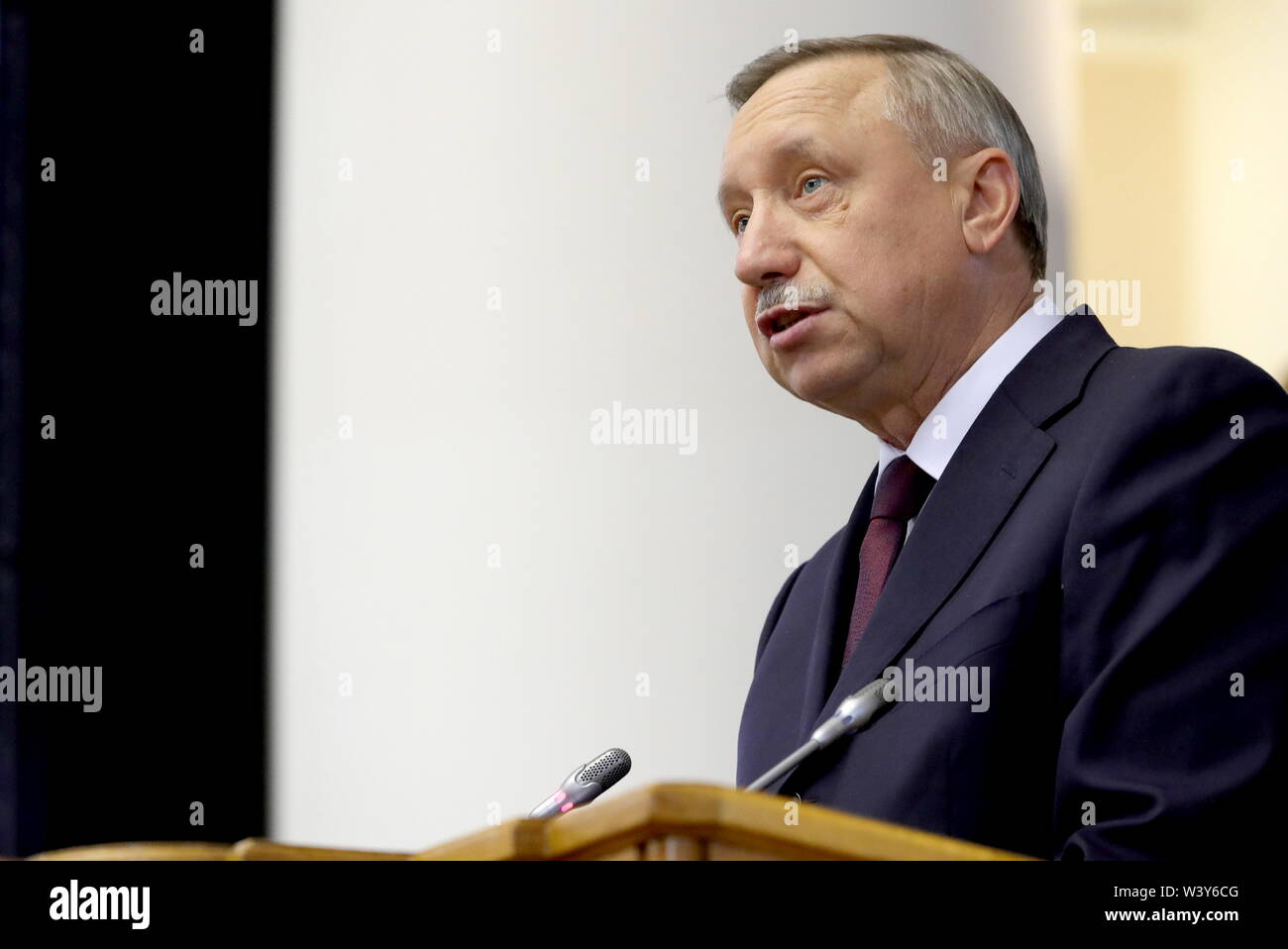 St Petersburg, Russia. 18th July, 2019. ST PETERSBURG, RUSSIA - JULY 18, 2019: Acting St Petersburg Governor Alexander Beglov addresses a plenary meeting at the 5th Belarus-Russia Forum of Regions, Tauride Palace. Mikhail Klimentyev/Russian Presidential Press and Information Office/TASS Credit: ITAR-TASS News Agency/Alamy Live News - Stock Image