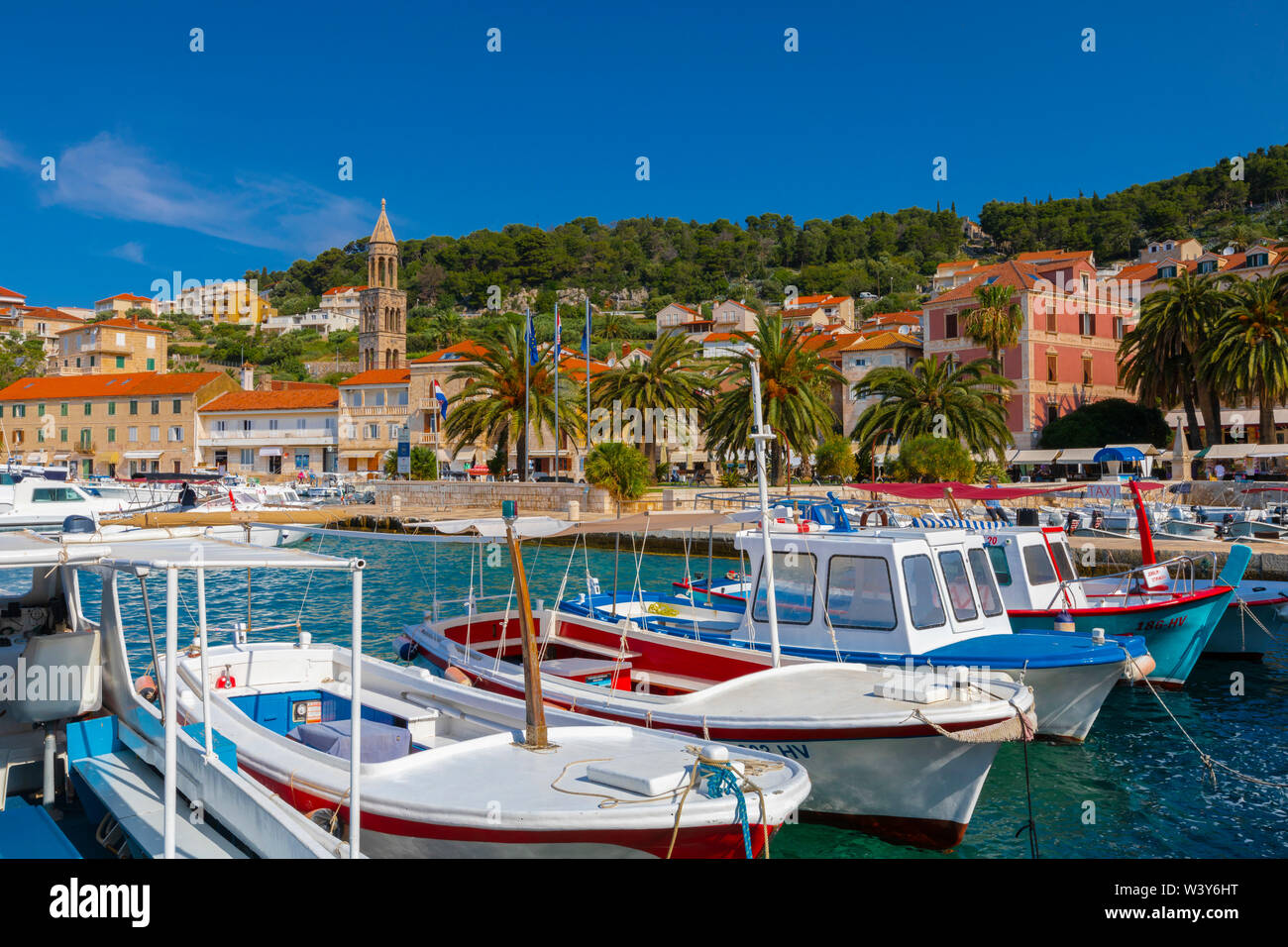 Hvar Town and Harbour, Hvar, Dalmatian Coast, Croatia, Europe - Stock Image