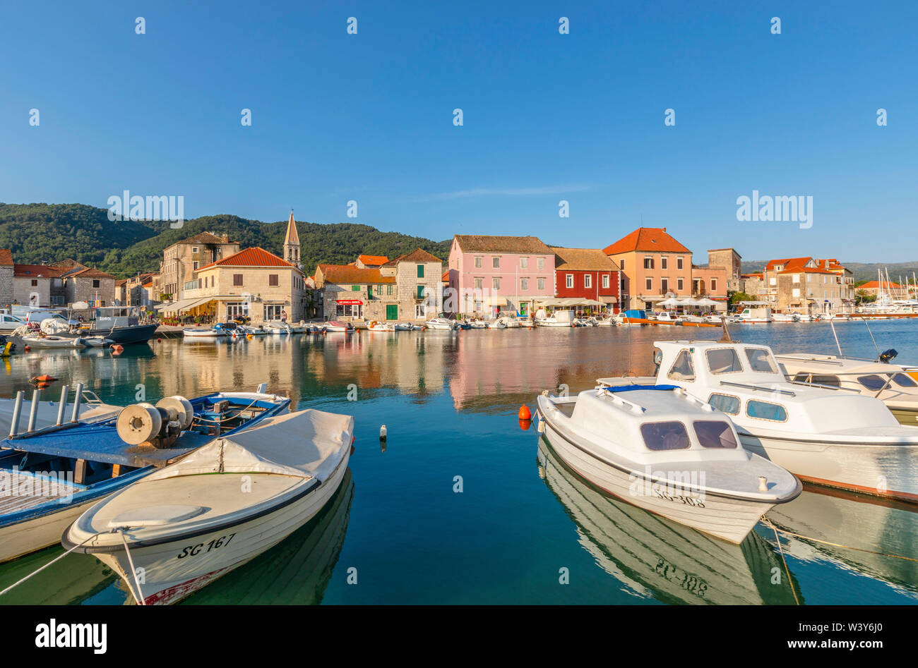Stari Grad Harbour, Hvar, Dalmatian Coast, Croatia, Europe - Stock Image