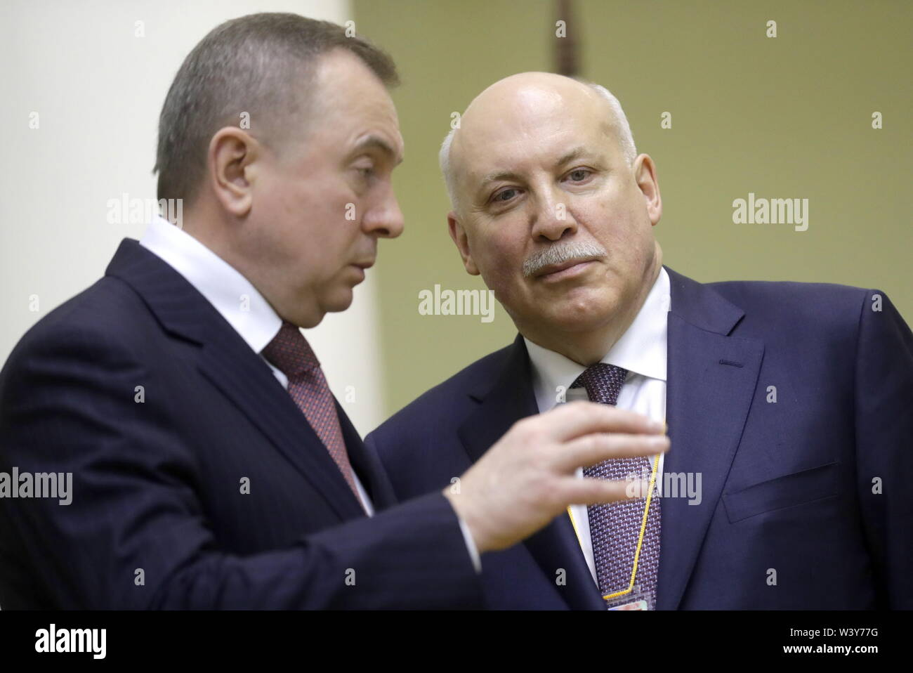 St Petersburg, Russia. 18th July, 2019. ST PETERSBURG, RUSSIA - JULY 18, 2019: Belarus' Foreign Minister Vladimir Makei (L) and Russia's Ambassador to Belarus Dmitry Mezentsev attend a meeting between the Presidents of Russia and Belarus at the Tauride Palace. Mikhail Metzel/TASS Credit: ITAR-TASS News Agency/Alamy Live News - Stock Image