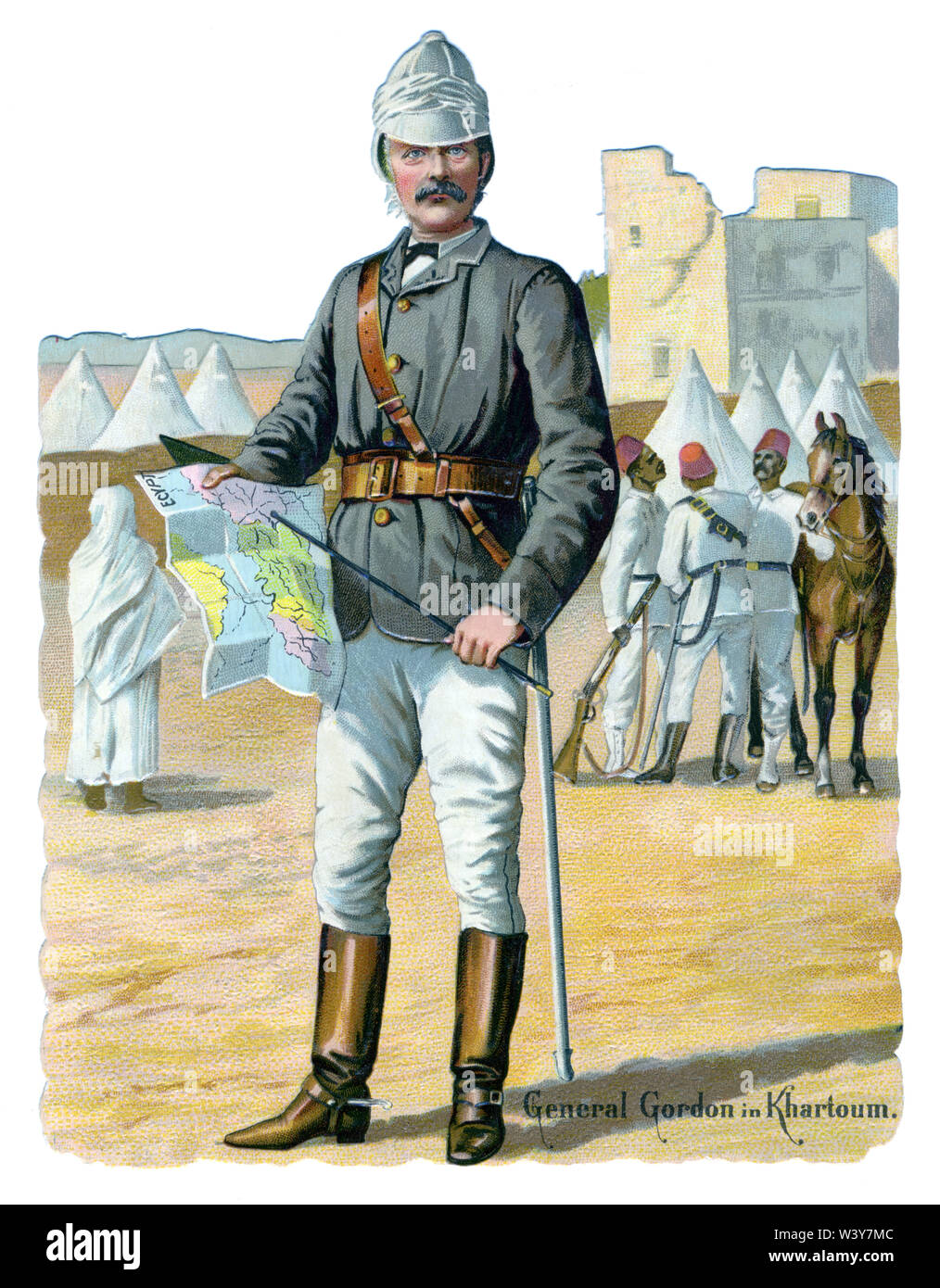 General Gordon in Khartoum, 1885 portrait of the Governor General of the Sudan, killed by the Mahdi at the end of the siege of Khartoum, on a Victorian lithographic scrap - Stock Image