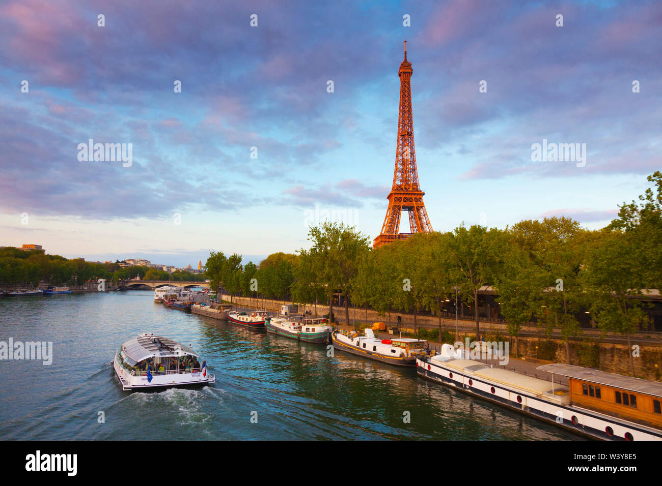 France, Paris, Eiffel Tower and tourist boat on River Seine - Stock Image