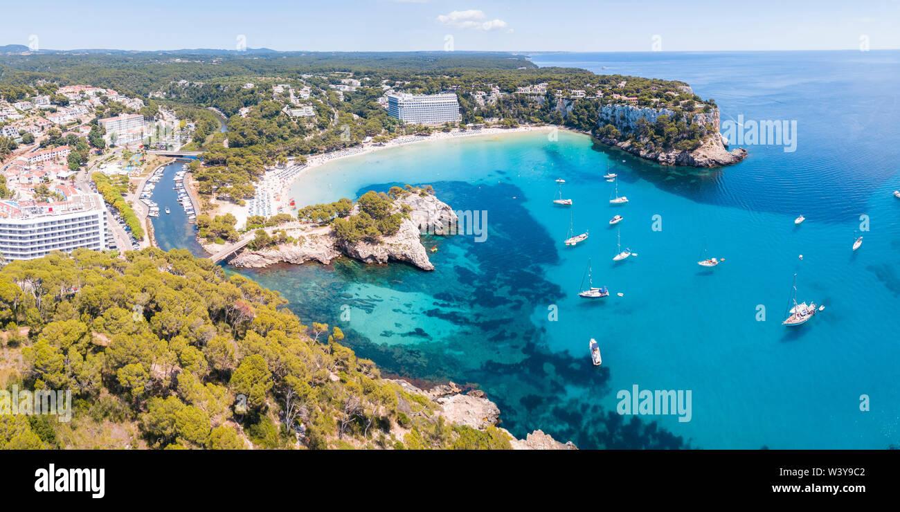 Aerial panoramic of Cala Galdana beach, Menorca, Balearic Islands, Spain - Stock Image