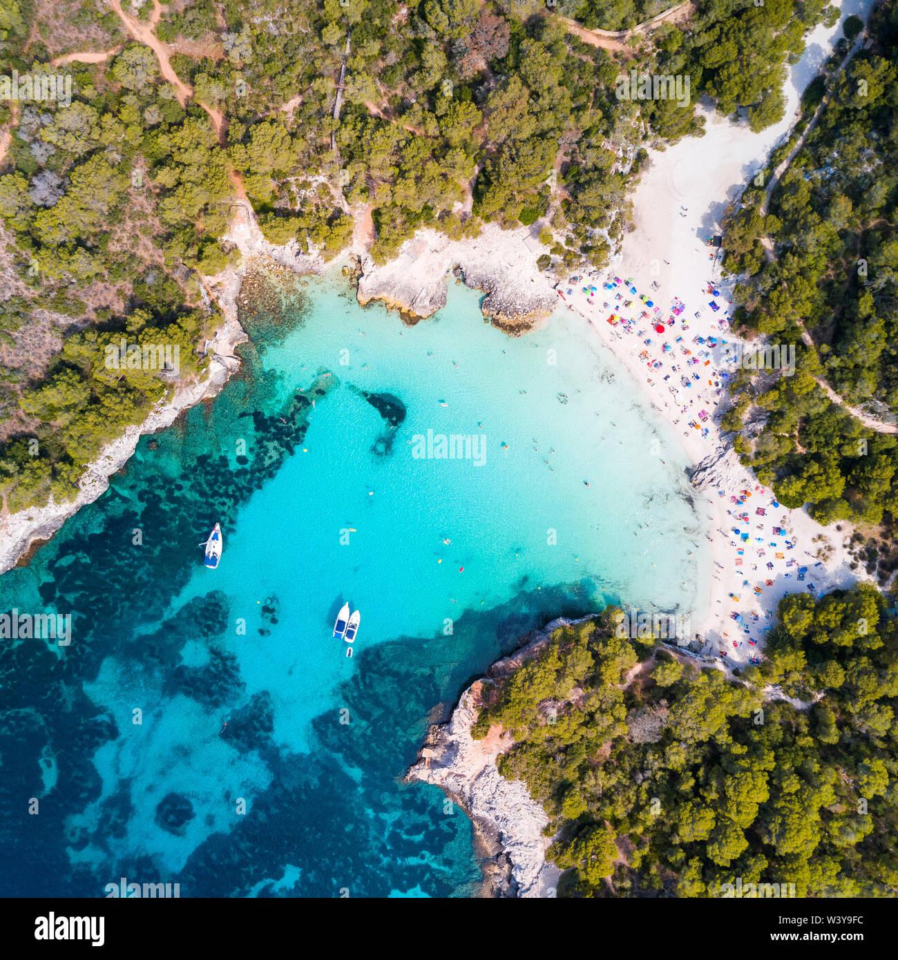 Aerial view of Cala Turqueta beach, Menorca, Balearic Islands, Spain - Stock Image