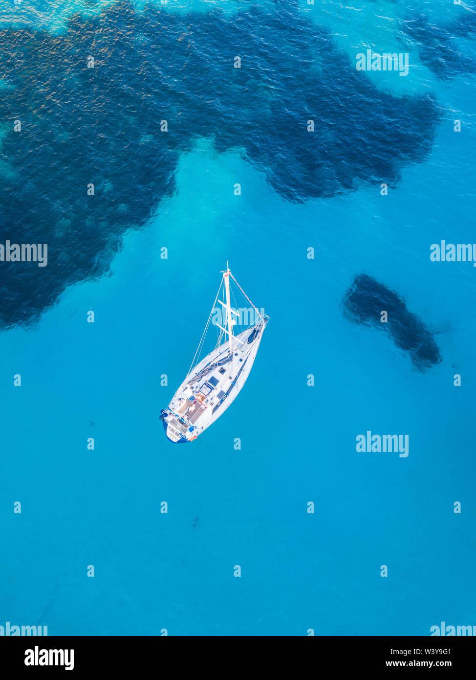 Aerial view of yacht, Menorca, Balearic Islands, Spain - Stock Image