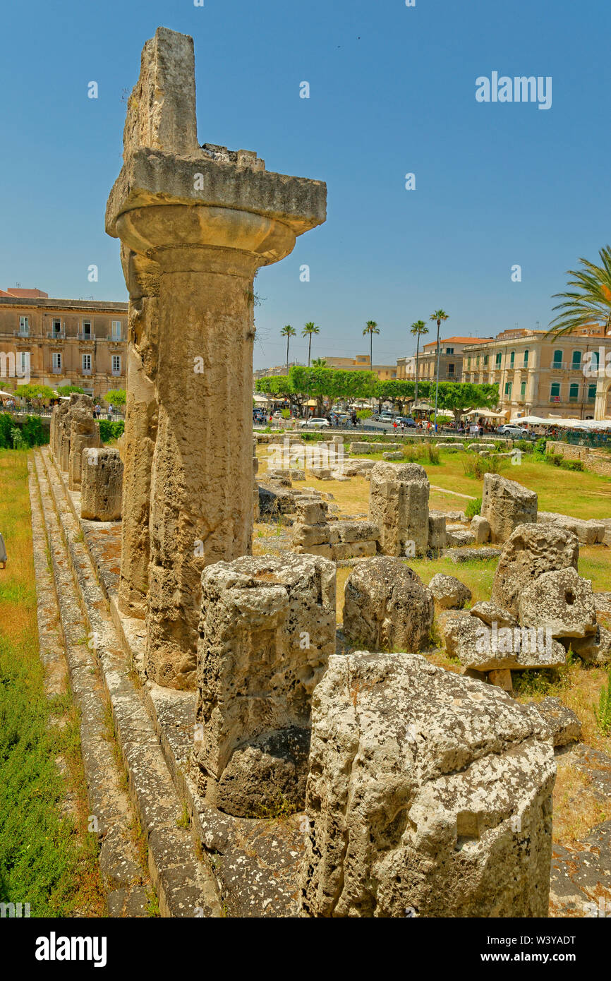 Temple of Apollo at Syracuse Old Town, Sicily, Italy. - Stock Image