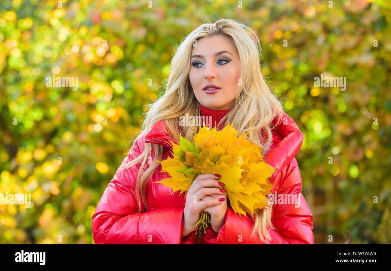 Woman walk in autumn park. Girl makeup dreamy face hold bunch maple leaves. Lady posing with leaves autumn nature background. Autumn favorite season concept. Autumn is her favorite season of year. - Stock Image