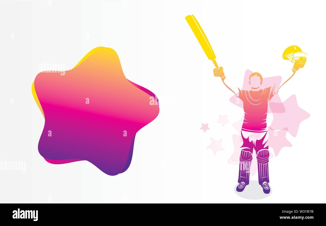 cricket player hitting big shot poster design, write your comment or advertise text place on big ball Stock Vector