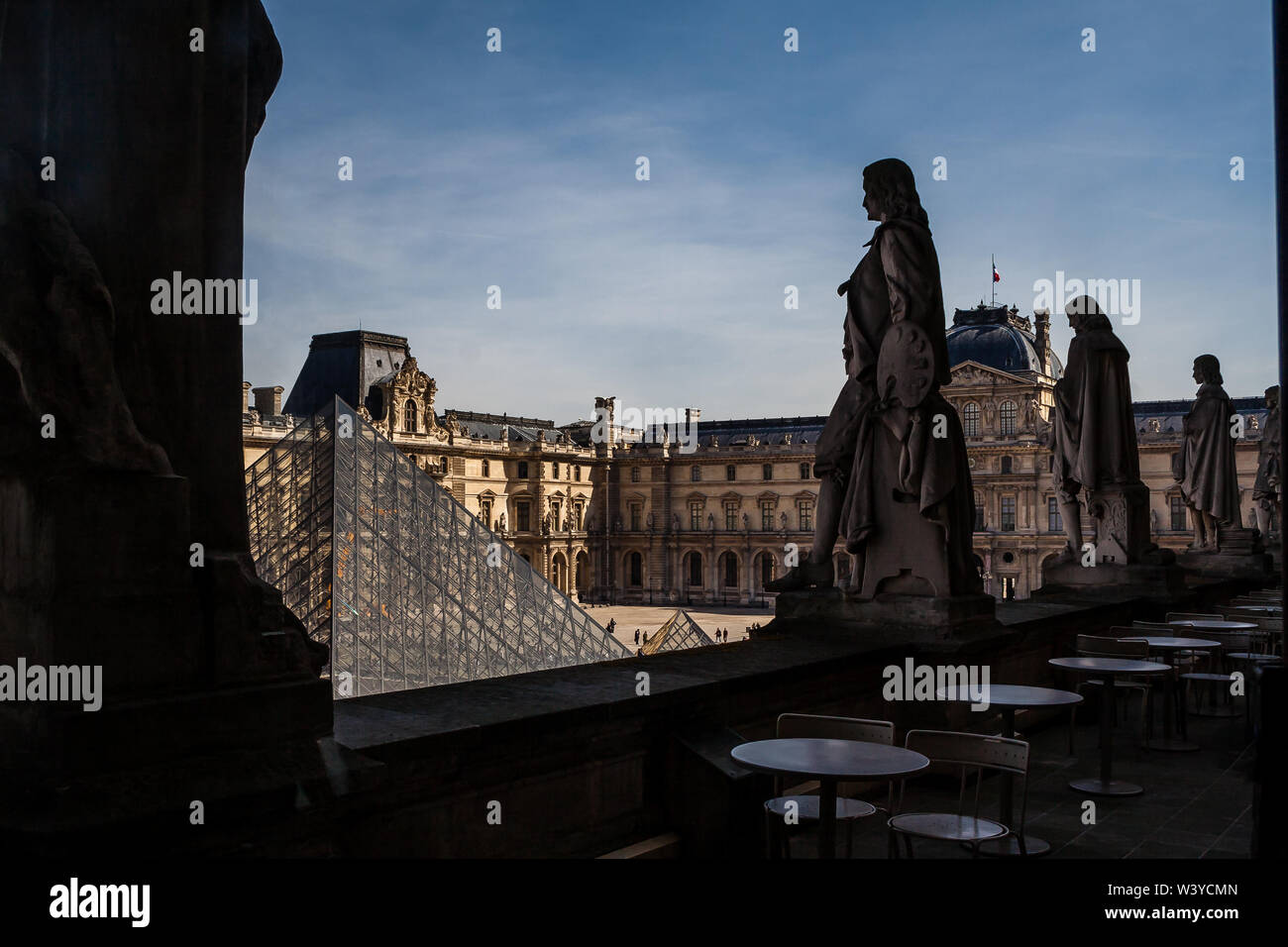 looking down over the Louvre, Paris France - Stock Image