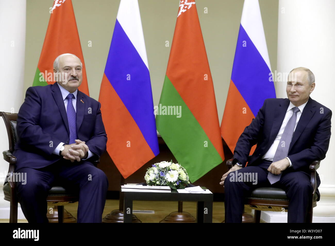St Petersburg, Russia. 18th July, 2019. ST PETERSBURG, RUSSIA - JULY 18, 2019: Belarus' President Alexander Lukashenko (L) and Russia's President Vladimir Putin during a meeting at the Tauride Palace. Mikhail Metzel/TASS Credit: ITAR-TASS News Agency/Alamy Live News - Stock Image