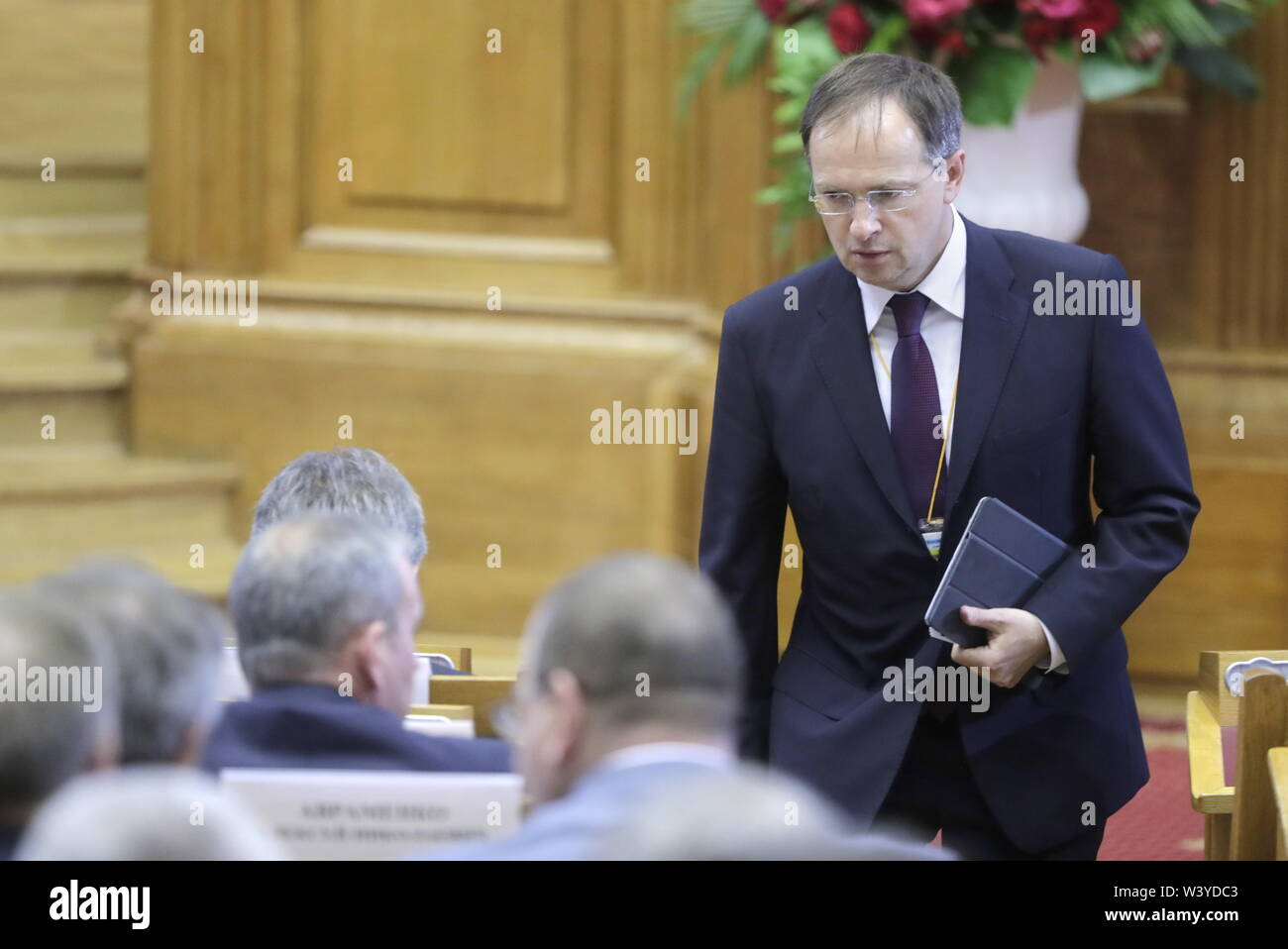 St Petersburg, Russia. 18th July, 2019. ST PETERSBURG, RUSSIA - JULY 18, 2019: Russia's Culture Minister Vladimir Medinsky arrives for a plenary meeting at the 5th Belarus-Russia Forum of Regions, Tauride Palace. Mikhail Metzel/TASS Credit: ITAR-TASS News Agency/Alamy Live News - Stock Image