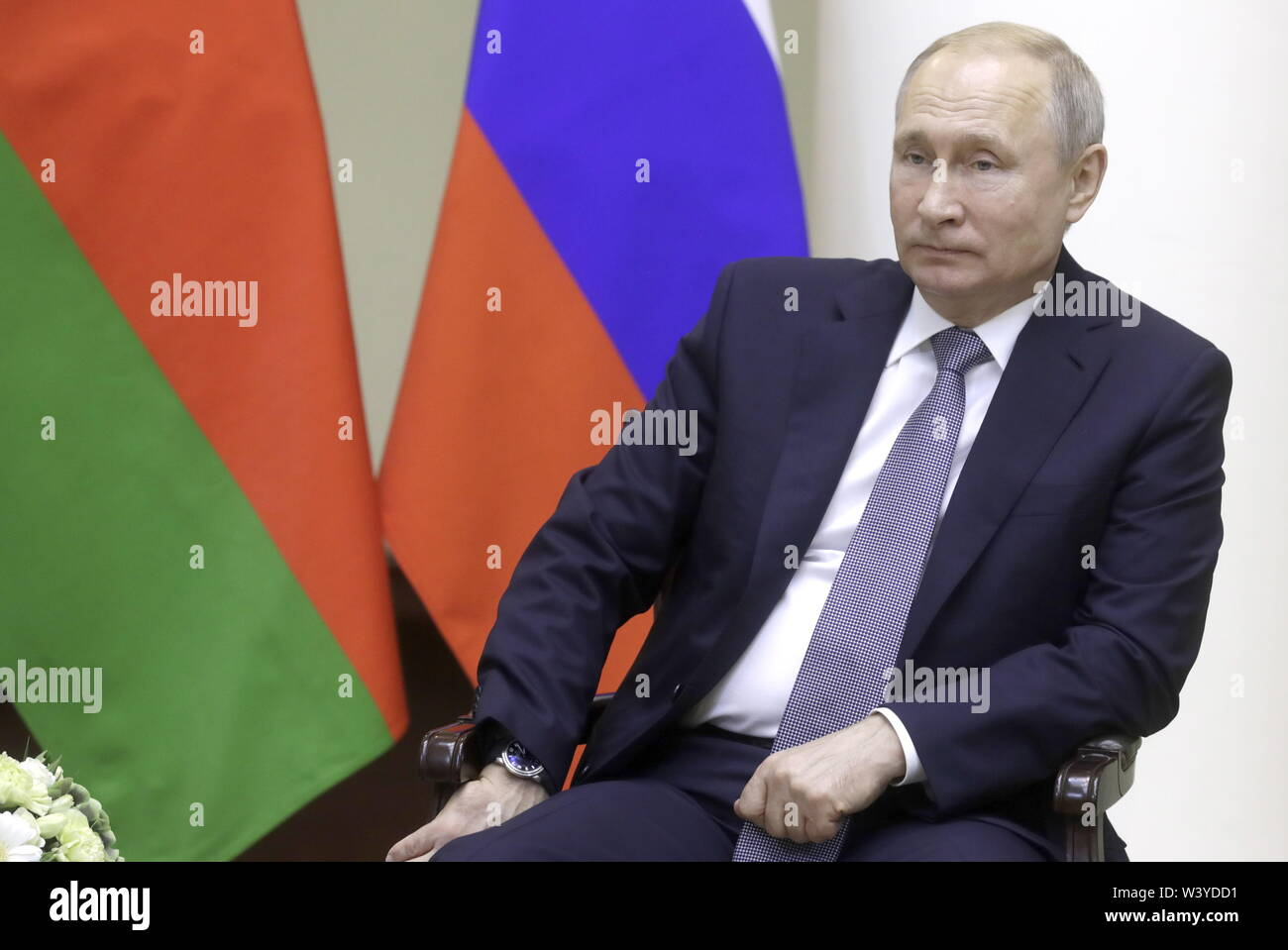 St Petersburg, Russia. 18th July, 2019. ST PETERSBURG, RUSSIA - JULY 18, 2019: Russia's President Vladimir Putin during a meeting with Belarus' President Alexander Lukashenko at the Tauride Palace. Mikhail Metzel/TASS Credit: ITAR-TASS News Agency/Alamy Live News - Stock Image