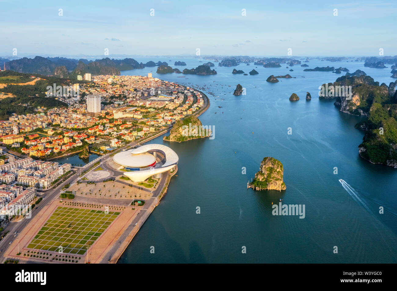 Quang Ninh Planning, Fair and Exhibition Area or dolphins house. Halong City. Near Halong Bay, UNESCO World Heritage Site. Popular landmark of VIetnam Stock Photo
