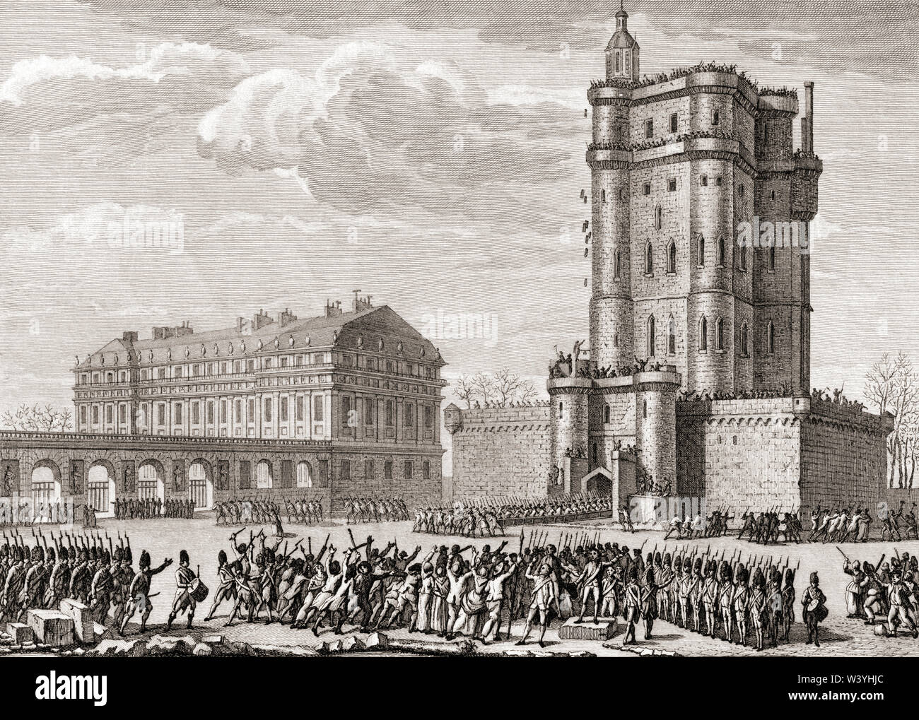Soldiers drive away a rioting mob bent on destroying the Château de Vincennes, Paris, France, February 28, 1791. - Stock Image