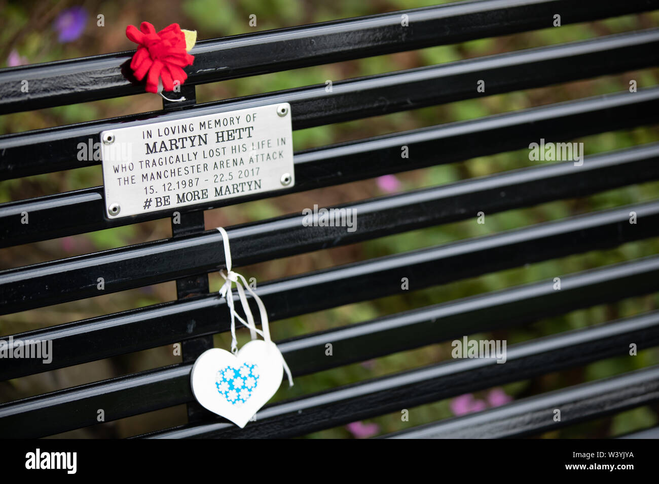 18 Jul 2019, Stockport, United Kingdom. The memorial bench to Martyn Hett, one of the 22 people who died during an explosion at the Manchester Arena o Stock Photo