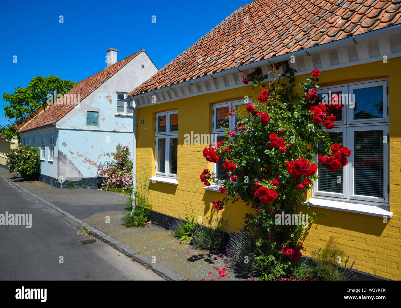 Svaneke, Denmark. 28th June, 2019. Houses in Svaneke, a small town on the north-eastern edge of the Danish Baltic Sea island of Bornholm. Svaneke is the best preserved old town in Bornholm. The island Bornholm is, together with the offshore archipelago Ertholmene, Denmark's most eastern island. Thanks to its location, the island of Bornholm counts many hours of sunshine. Credit: Patrick Pleul/dpa-Zentralbild/ZB/dpa/Alamy Live News - Stock Image