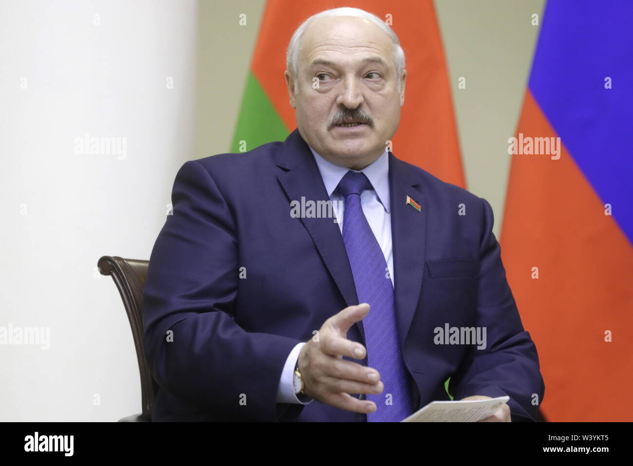 St Petersburg, Russia. 18th July, 2019. ST PETERSBURG, RUSSIA - JULY 18, 2019: Belarus' President Alexander Lukashenko during a meeting with Russia's President Vladimir Putin at the Tauride Palace. Mikhail Metzel/TASS Credit: ITAR-TASS News Agency/Alamy Live News - Stock Image