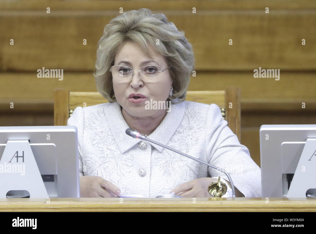 St Petersburg, Russia. 18th July, 2019. ST PETERSBURG, RUSSIA - JULY 18, 2019: Russian Federation Council Chairperson Valentina Matvienko addresses a plenary meeting at the 6th Belarus-Russia Forum of Regions, Tauride Palace. Mikhail Metzel/TASS Credit: ITAR-TASS News Agency/Alamy Live News - Stock Image