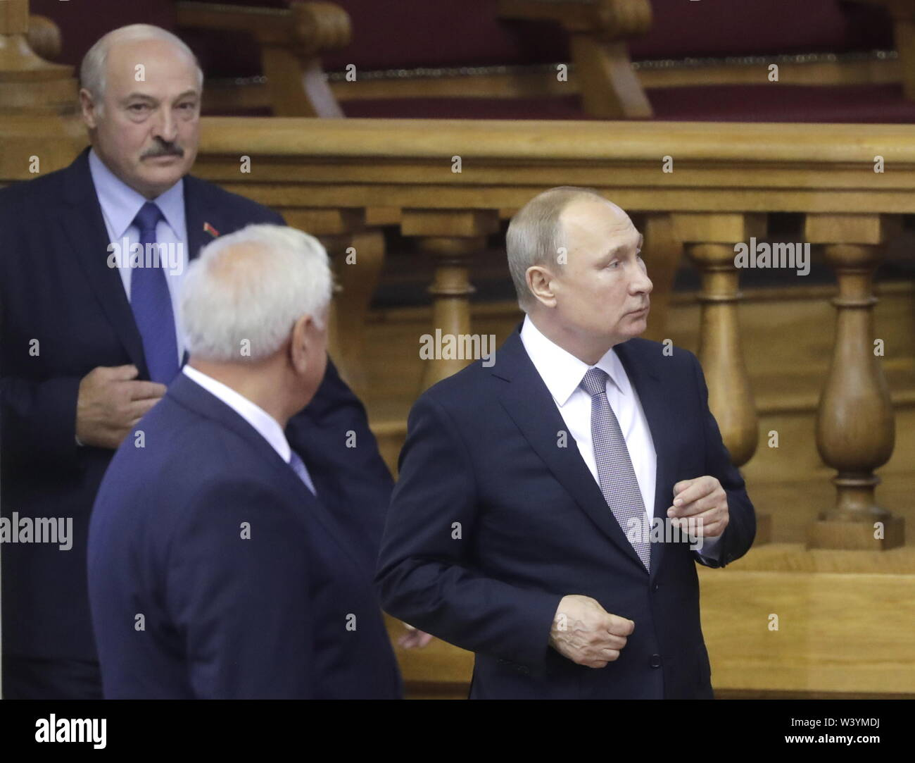 St Petersburg, Russia. 18th July, 2019. ST PETERSBURG, RUSSIA - JULY 18, 2019: Belarus' President Alexander Lukashenko and Russia's President Vladimir Putin (L-R back)) attend a plenary meeting at the 6th Belarus-Russia Forum of Regions, Tauride Palace. Mikhail Metzel/TASS Credit: ITAR-TASS News Agency/Alamy Live News - Stock Image