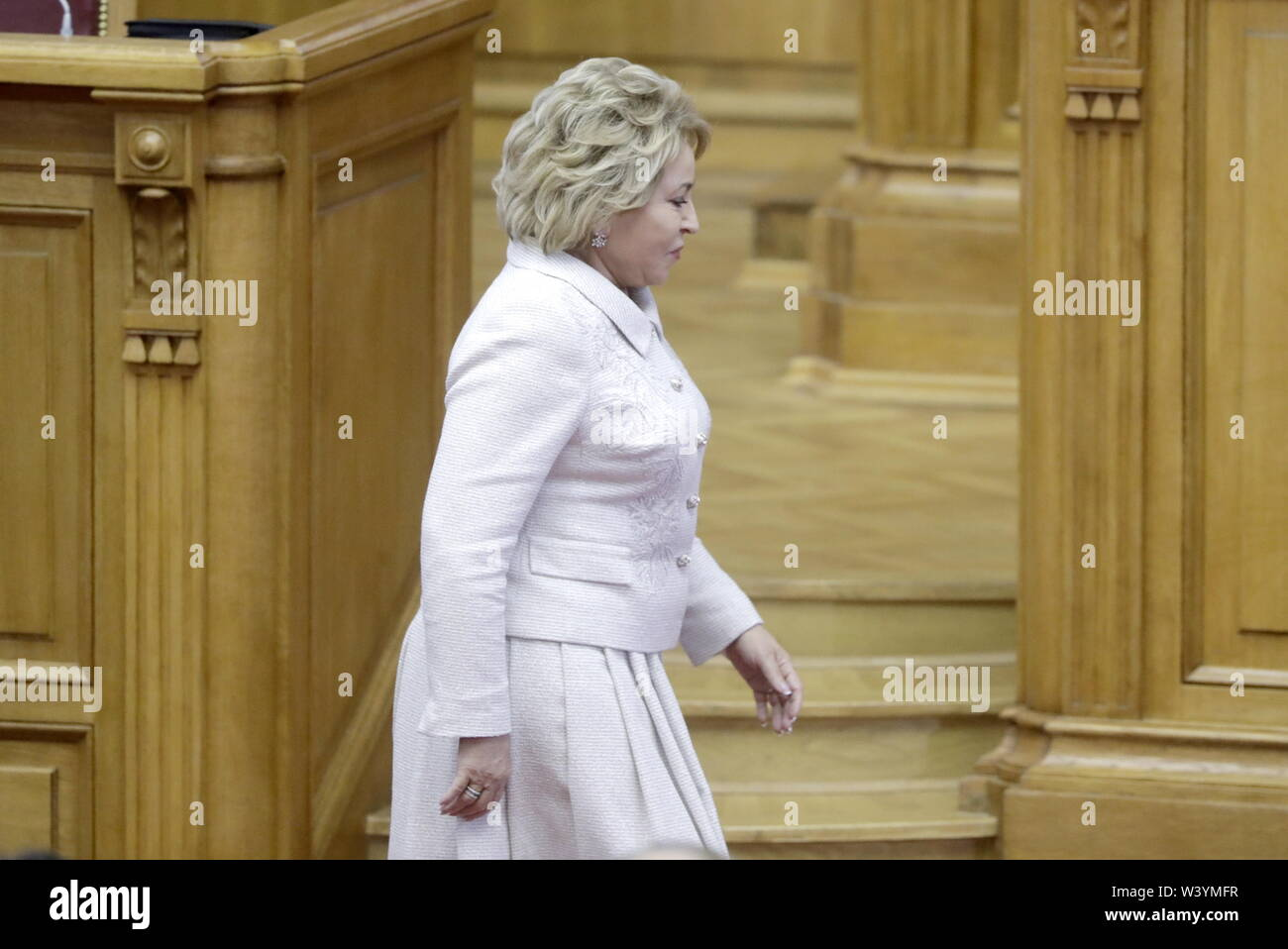 St Petersburg, Russia. 18th July, 2019. ST PETERSBURG, RUSSIA - JULY 18, 2019: Russian Federation Council Chairperson Valentina Matvienko attends a plenary meeting at the 6th Belarus-Russia Forum of Regions, Tauride Palace. Mikhail Metzel/TASS Credit: ITAR-TASS News Agency/Alamy Live News - Stock Image