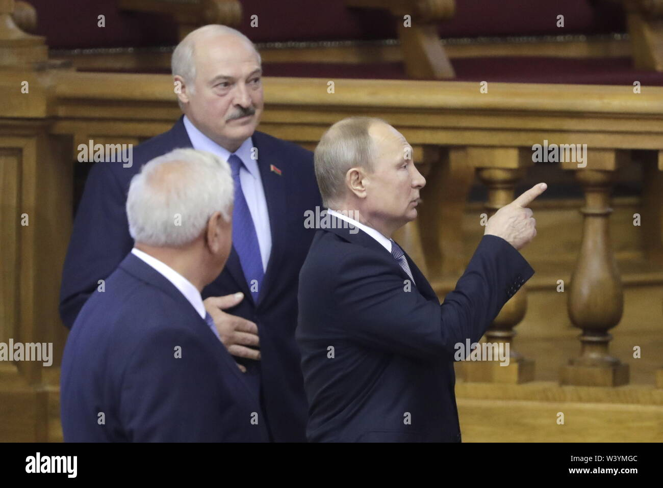 St Petersburg, Russia. 18th July, 2019. ST PETERSBURG, RUSSIA - JULY 18, 2019: Belarus' President Alexander Lukashenko and Russia's President Vladimir Putin (L-R back) attend a plenary meeting at the 6th Belarus-Russia Forum of Regions, Tauride Palace. Mikhail Metzel/TASS Credit: ITAR-TASS News Agency/Alamy Live News - Stock Image