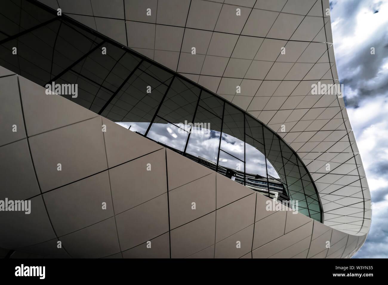Union Museum, Etihad, Dubai, United Arab Emirate - Jan.4, 2018: Fantastic Pavilion of the Etihad Museum on the Jumeirah Street - Stock Image