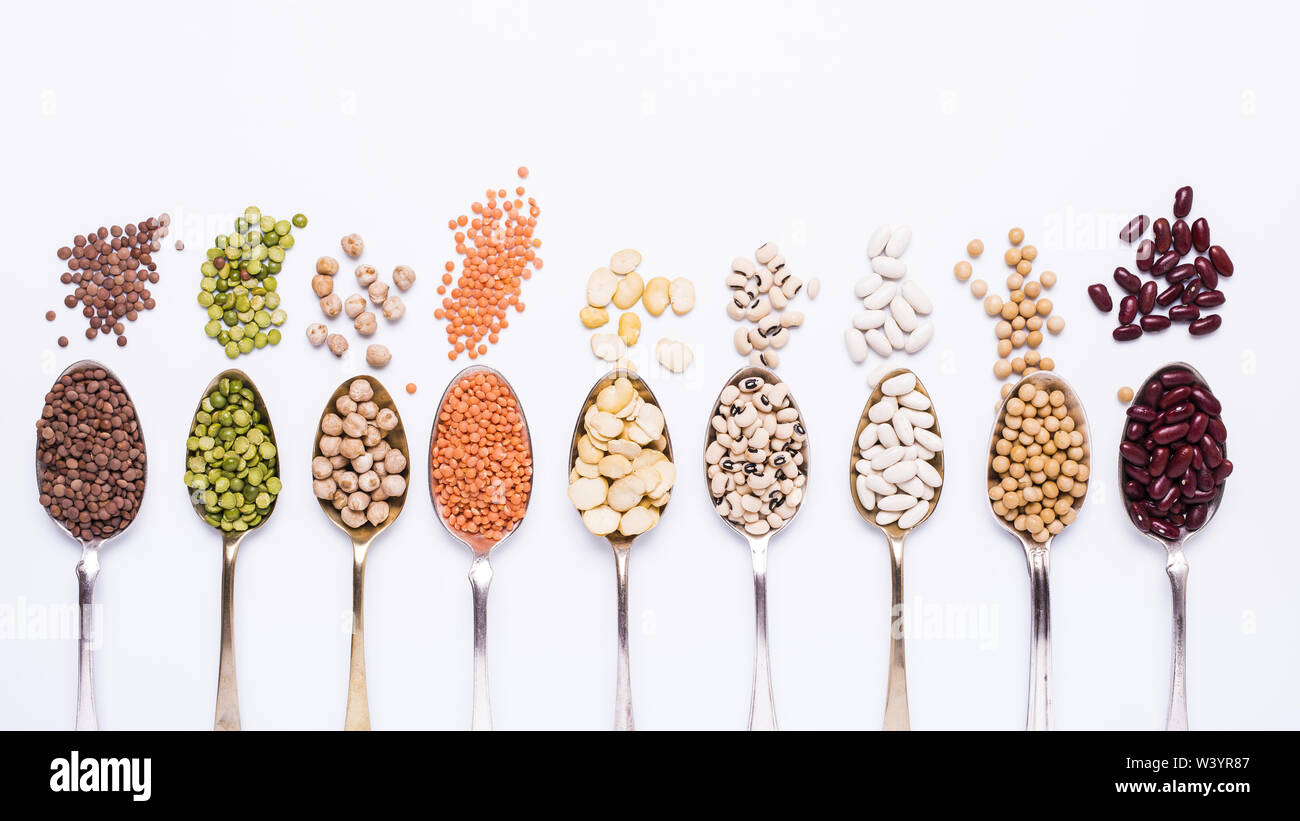 composition of dry legumes of different types, colors and flavors - Stock Image
