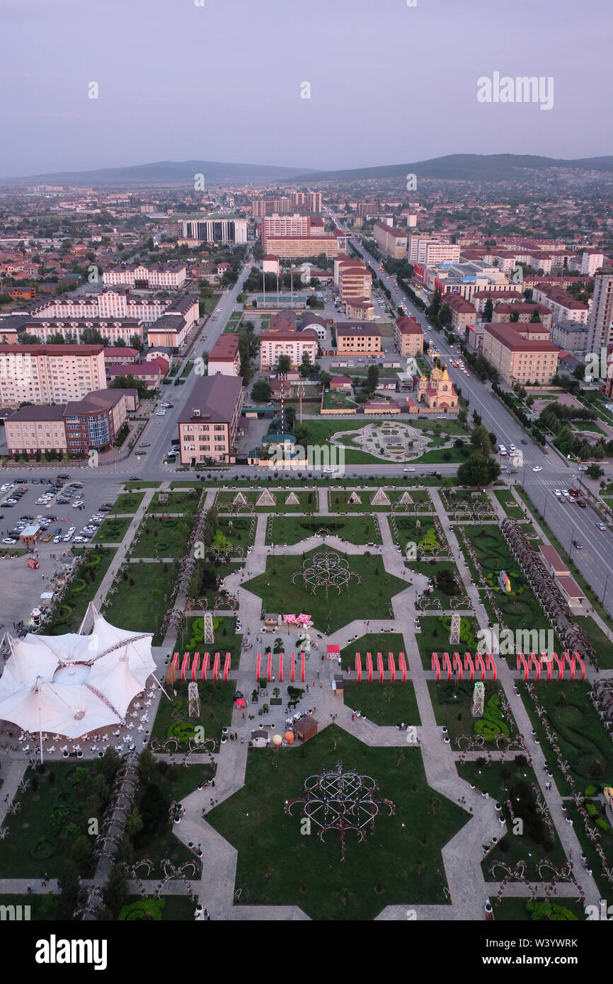 Aerial view of Tsvetochny Park in Grozny the capital city of Chechnya officially the Chechen Republic in the North Caucasian Federal District of Russia. - Stock Image