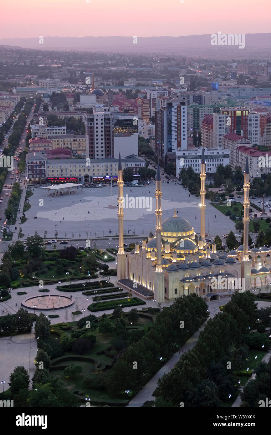 View of Akhmad Kadyrov Mosque in Grozny the capital city of Chechnya officially the Chechen Republic in the North Caucasian Federal District of Russia. - Stock Image