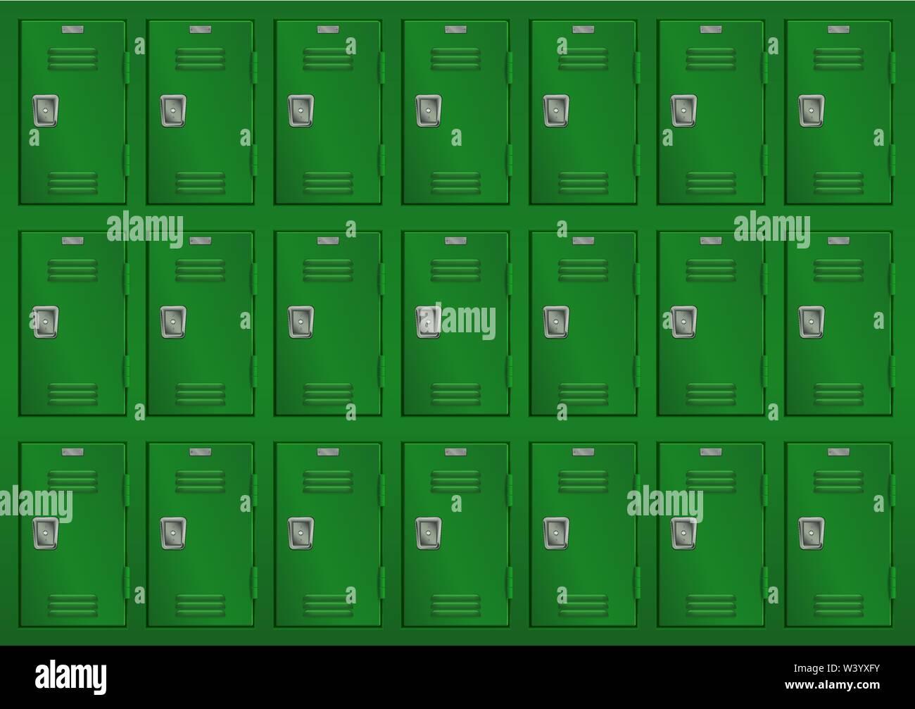 Lockers. Big set of green lockers in gym Stock Vector
