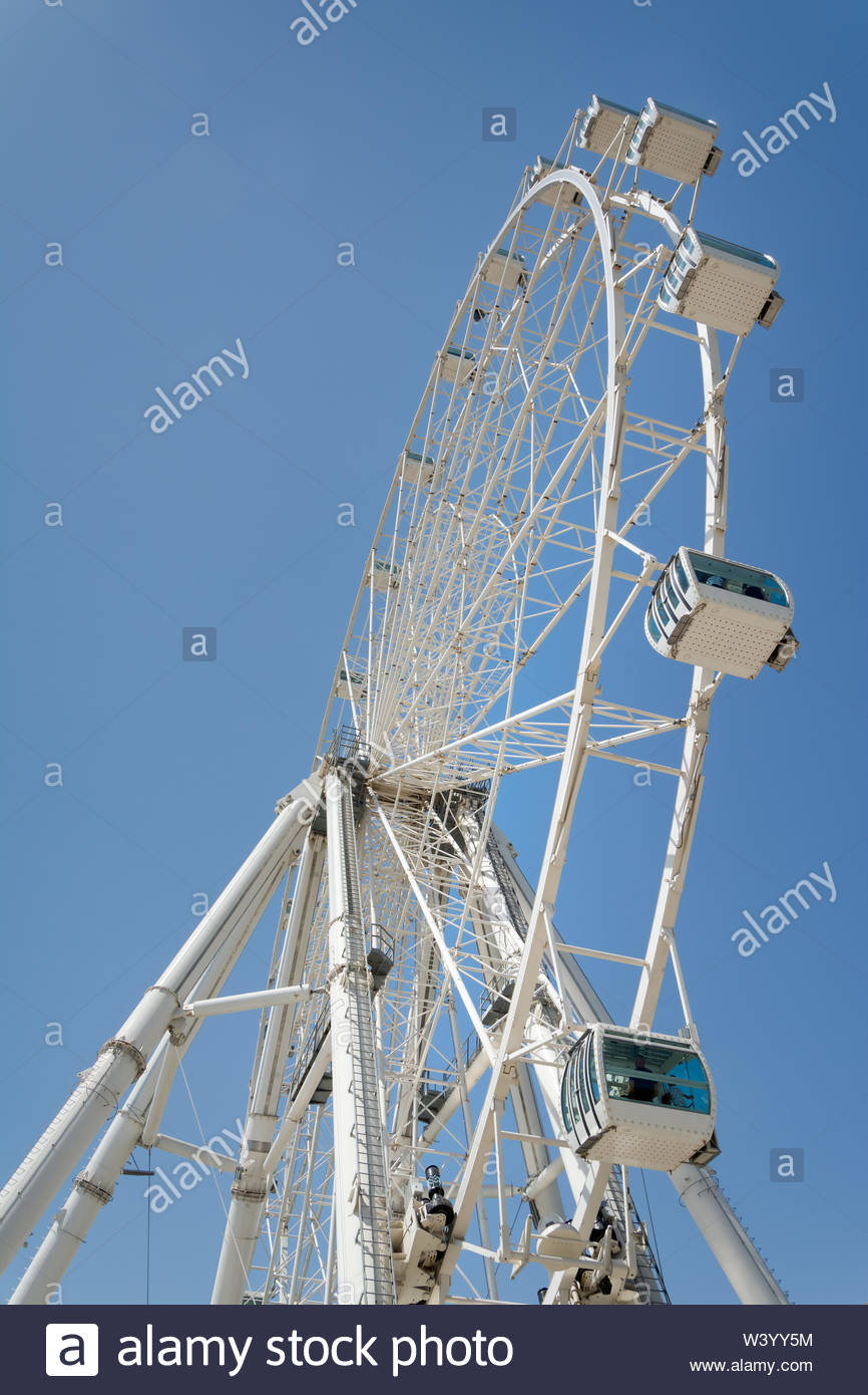 Malaga, Sspain - August 19, 2018: The Malaga Big Wheel (Noria de Malaga) Named Mirador Princess The wheel was 70m heigh and operated from 2015 up to M - Stock Image