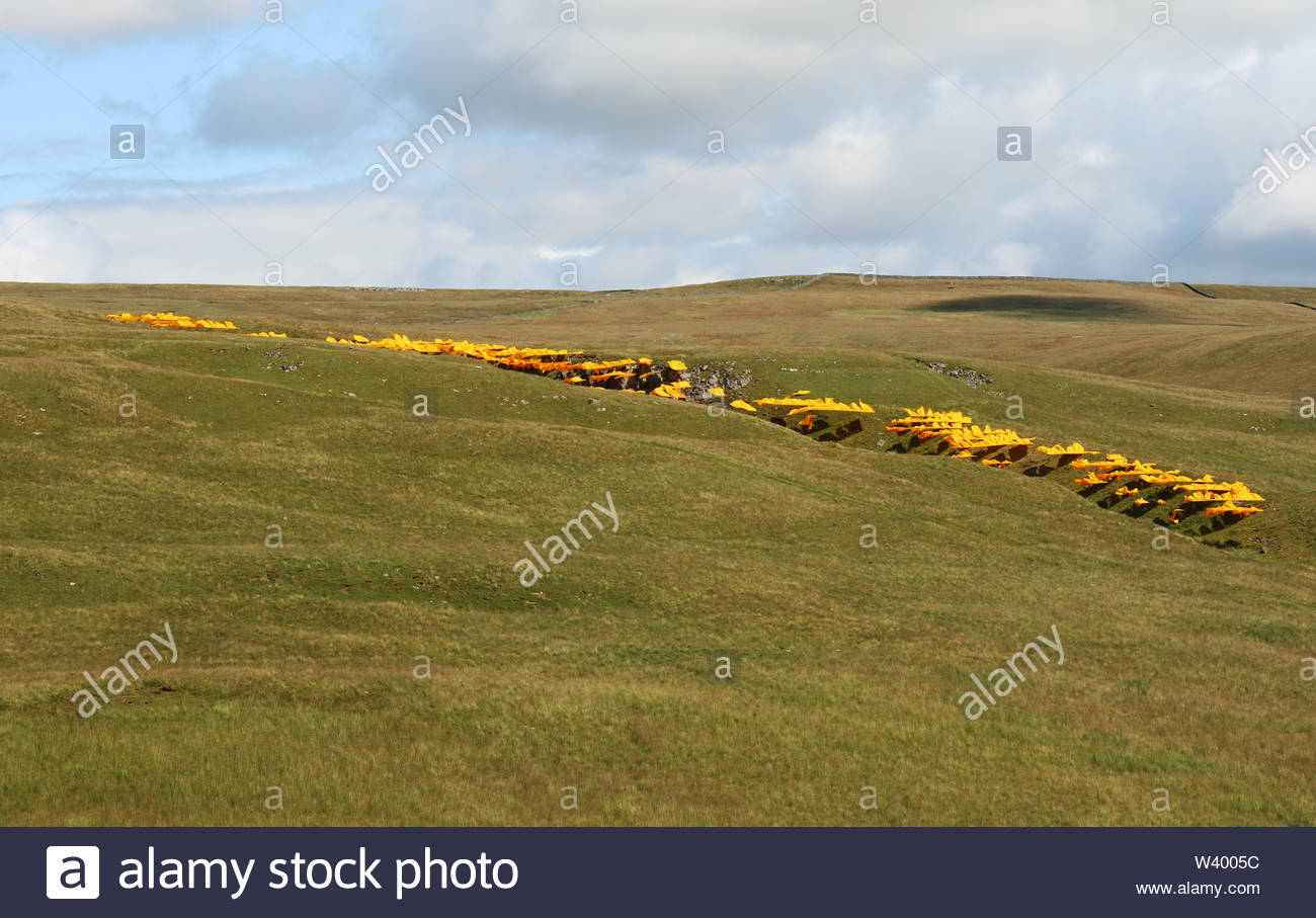 Bales Hush, Nr Newbiggin, Middleton-in-Teesdale, Co Durham, UK 18th July 2019 Amongst the largest works of art ever created in the UK, 'Hush', conceived by environmental artist Steve Messam,  draws attention to the form of the hush. In this area of the North Penine Hills hushing was widely practised in the 18th Century and highlights today how human interaction has affected nature and the landscape. The huge artwork in total is some 370 metres long, 35 metres wide and upto 25 metres high with over 5km of recyclable fabric being used in its making. Credit Jim Nicholson/Alamy Live News - Stock Image