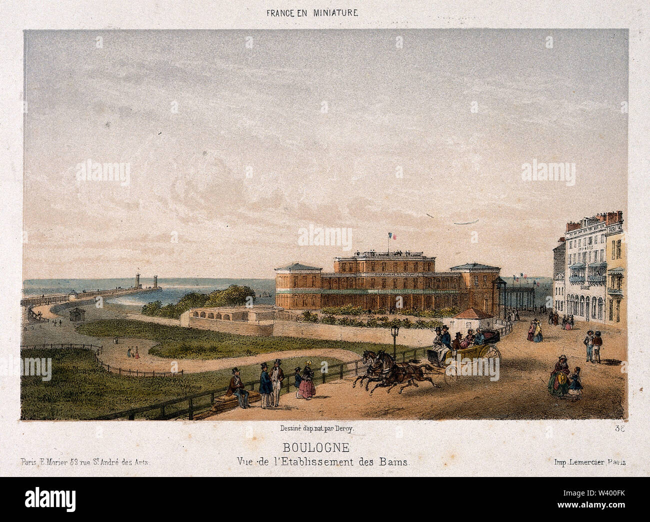 The busy street in front of the Bath house, Boulogne, France. Coloured lithograph after Deroy. - Stock Image