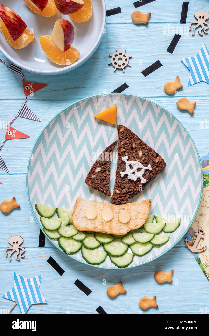 Funny cute pirate breakfast for the children boys - Stock Image