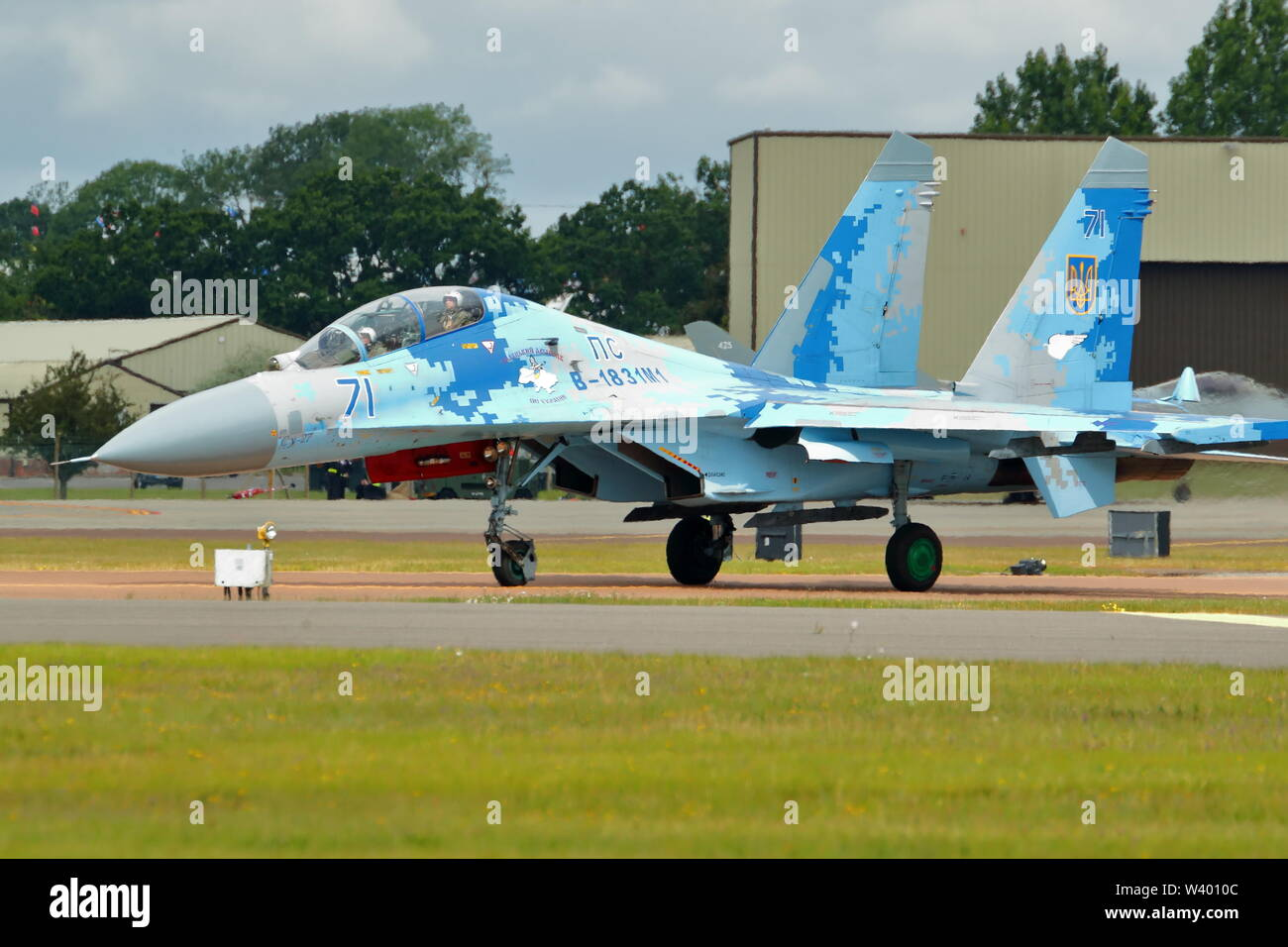 Ukrainian Air Force Sukhoi SU-27 Flanker arriving at RIAT 2019 at RAF Fairford, Gloucestershire, UK - Stock Image
